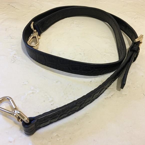 "Michael Kors Handbags - Michael Kors Black Croc Leather 40"" Bag Strap"